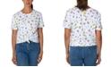 Rebellious One Juniors' Cotton Doodle-Print Knot-Front T-Shirt