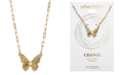"""Unwritten Crystal Butterfly Pendant Necklace in Gold-Flash, 16"""" + 2"""" extender"""