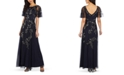 Adrianna Papell Flutter-Sleeve Embellished Gown