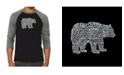 LA Pop Art Bear Species Men's Raglan Word Art T-shirt
