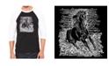 LA Pop Art Popular Horse Breeds Men's Raglan Word Art T-shirt