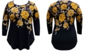 JM Collection Plus Size Floral-Print 3/4-Sleeve Top, Created For Macy's