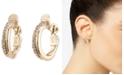 "Lauren Ralph Lauren Gold-Tone Small Pavé Twist Clip-On Hoop Earrings, 0.8"""