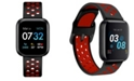 iTouch Men's Air 3 Black and Red Perforated Silicone Strap Touchscreen Smart Watch 44mm