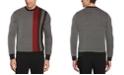 Perry Ellis Men's Birdseye Placed Stripe Long Sleeve Crew Neck Sweater