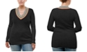 Derek Heart Trendy Plus Size Rainbow-Trim Sweater