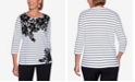 Alfred Dunner Women's Plus Size Modern Living Floral Yoke Striped Top