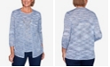 Alfred Dunner Women's Missy Denim Friendly Space Dye Two for One Sweater