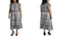 1.STATE Trendy Plus Size Printed Tiered Fit & Flare Dress