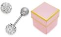 Macy's Children's Reversible Crystal Ball Stud Earrings in 14k White Gold