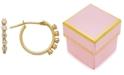 Macy's Children's Cubic Zirconia Studded Hoop Earrings in 14k Gold