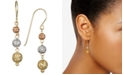 Macy's Tri-Color Textured Ball Triple Drop Earrings in 10k Yellow, White and Rose Gold
