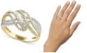 EFFY Collection Duo by EFFY® Diamond Crisscross Swirl Ring (3/4 ct. t.w.) in 14k Gold & White Gold