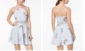 City Studios Juniors' Printed Illusion-Waist Halter Dress