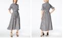 Calvin Klein Cotton Gingham-Print Midi Shirtdress