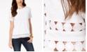 Charter Club Petite Cotton Crochet-Trim T-Shirt, Created for Macy's