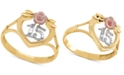 """Macy's Tricolor Quinceañera """"15"""" Rose Openwork Ring in 14k Gold, Rose Gold & Rhodium Plate"""