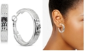 """Giani Bernini Small Textured Flat Hoop Earrings in Sterling Silver, 1"""", Created for Macy's"""