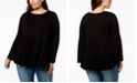 Joseph A Plus Size Long-Sleeve Flounce Knit Top