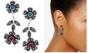 Macy's Crystal & Marcasite Flower Drop Earrings in Fine Silver-Plate