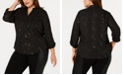 NY Collection Plus Size Foil-Accent Dot-Print Utility Shirt