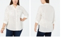 NY Collection Plus Size Foil-Print Utility Shirt