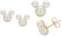 Disney Children's Cultured Freshwater Pearl Mouse Stud Earrings in 14k Gold