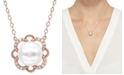 "Arabella Cultured Freshwater Pearl (8mm) & Diamond (1/10 ct. t.w.) 17"" Pendant Necklace in 10k Rose Gold"