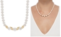 """Honora White Cultured Freshwater Pearl (6 & 8-1/2mm) & Diamond (1/6 ct. t.w.) 17"""" Collar Necklace in 14k Gold"""
