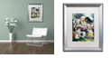 "Trademark Global Jenny Newland 'Bath Time Pups' Matted Framed Art, 16"" x 20"""