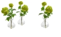 Nearly Natural Snowball Hydrangea Artificial Arrangement in Vase, Set of 2