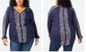 Lucky Brand Plus Size Border-Print V-Neck Top