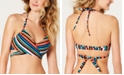 SUNDAZED Lucky Stripes Printed Halter Wrap Underwire Bikini Top, Created For Macy's