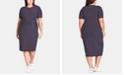 City Chic Trendy Plus Size Striped Twist-Front Dress
