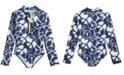 DKNY Big Girls 1-Pc. Long-Sleeve Rash Guard Swimsuit