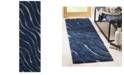 "Safavieh Shag Dark Blue and Cream 2'3"" x 7' Runner Area Rug"