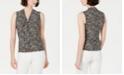 Anne Klein Printed Tie-Neck Top