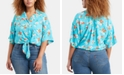 Levi's Trendy Plus Size Clove Tropical-Print Tie-Front Shirt
