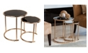 Danya B Set of 2 Nested Round End Tables with Black Glass-top and Rose Gold