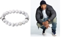 LEGACY for MEN by Simone I. Smith White Agate (10mm) Beaded Stretch Bracelet in Stainless Steel