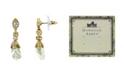 Downton Abbey Gold-Tone Closed White Porcelain Rose Drop Earrings