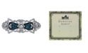 Downton Abbey Silver-Tone Crystal Simulated Pearl and Blue Enamel Hair Barrette