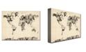 "Trademark Global Michael Tompsett 'Old Clocks World Map' Canvas Art - 14"" x 19"""