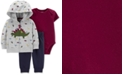 Carter's Baby Boys 3-Pc. Dinosaur Hoodie, Bodysuit & Jogger Pants Cotton Set
