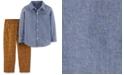 Carter's Toddler Boys 2-Pc. Cotton Chambray Button-Front Top & Dog-Print Pants Set
