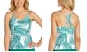 Raisins Juniors' Palm Bay Printed Macrame-Back Tankini Top