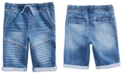 Epic Threads Little Boys Stretch Denim Drawstring Moto Shorts, Created for Macy's