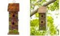 Glitzhome Hanging Two-Tiered Distressed Solid Wood Birdhouse with Flowers