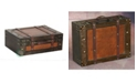 Vintiquewise Old Style Suitcase with Straps, Large