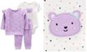 Carter's Baby Girls 3-Pc. Printed Bear Sweatshirt, Bodysuit & Jogger Pants Set